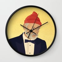 steve zissou Wall Clocks featuring Zissou by Virtual Window