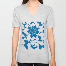 Oriental Flower - Snorkel Blue On White Background Unisex V-Neck