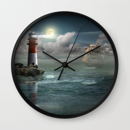 Lighthouse Under Back Light Wall Clock