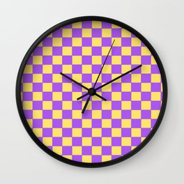 Checkers - Purple and Yellow Wall Clock