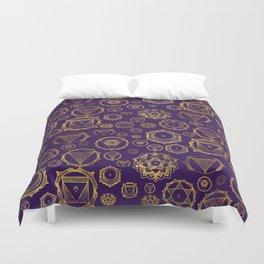 Gold on Purple Chakras Pattern Duvet Cover