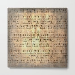 Antique Music Sheets on Rustic Paper Metal Print