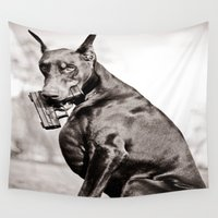 doberman Wall Tapestries featuring Don't Mess With Texas by Paw Prints By Jamie