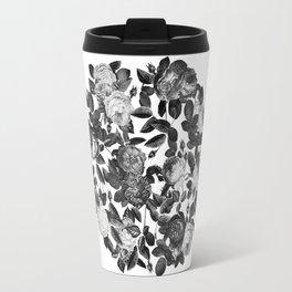 Black and White Victorian Roses Travel Mug