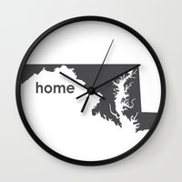 maryland Wall Clocks featuring Home: Maryland by LEIGH ANNE BRADER