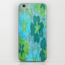 Floral batik in blues and greens iPhone Skin