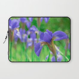 Group of purple irises in spring sunny day Laptop Sleeve