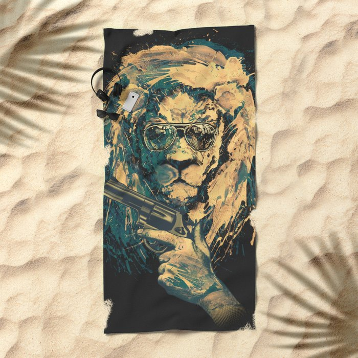 Lion is always Cool Beach Towel