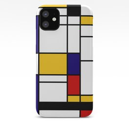 Primary Colors Geometric Pattern Fabric - Mondrian Fabric - Bauhaus Style Lines Home Decor Cotton iPhone Case