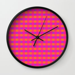 Jazzy Checks in Orange, Pink and Purple Wall Clock