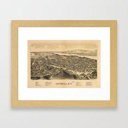 Vintage Pictorial Map of Catskill New York (1889)  Framed Art Print