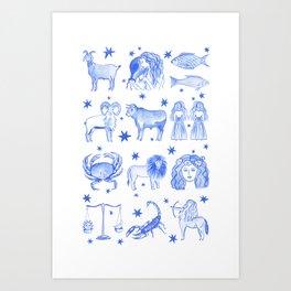 Blue Zodiac Art Print