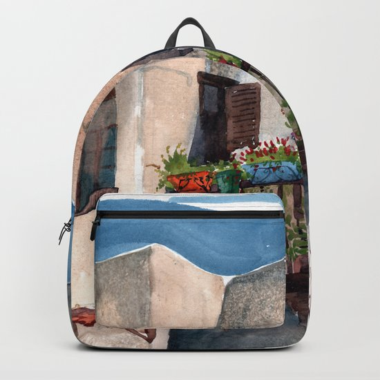 Herbs and blossom on Rhodian balcony Backpack