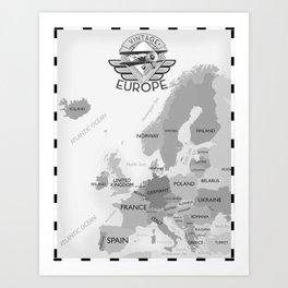 Vintage Black and white Europe poster Art Print