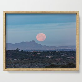 Moon Over Tucson - Full Moon Sets Early Morning in Tucson Arizona Serving Tray