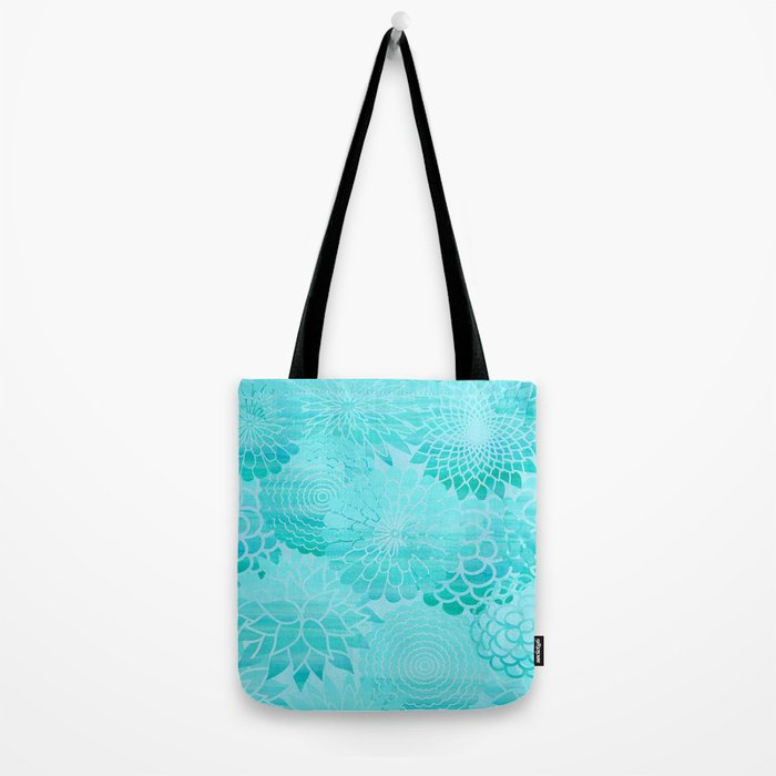 Aqua Blue Floral Flower pattern- Turquoise Abstract Flowers on #Society6 Tote Bag