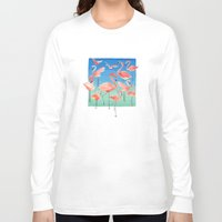 flamingos Long Sleeve T-shirts featuring Flamingos  by Ninola