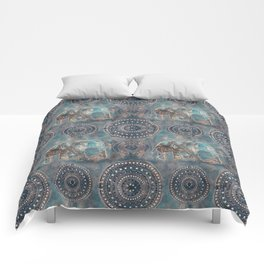 Elephant Ethnic Style Pattern Teal and Copper Comforters
