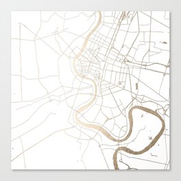 Bangkok Thailand Minimal Street Map - Gold Metallic and White IV Canvas Print