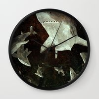 sharks Wall Clocks featuring sharks by Lara Paulussen