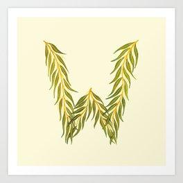 Leafy Letter W Art Print