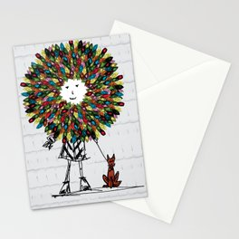 Flowerhead girl.  Stationery Cards