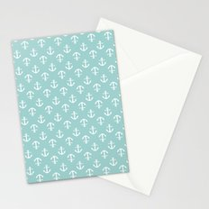 Mint Anchors Pattern Stationery Cards