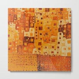 City Grid Pattern in Earth Tones Metal Print