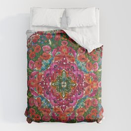 Mandala with Poppies and Cornflowers Comforters