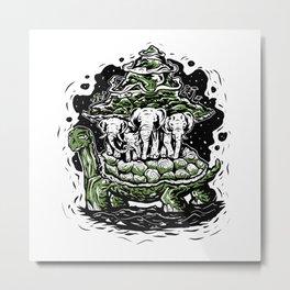 Turtle art flat earth elephants on turtle back Metal Print