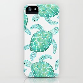 Sea Turtle Pattern - Blue iPhone Case