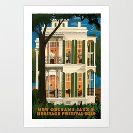 Vintage New Orleans Jazz Festival Advertisement Poster Art Print