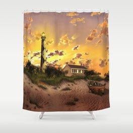 lighthouse landscape sky Shower Curtain