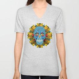 Blue Skull with Mandala Unisex V-Neck