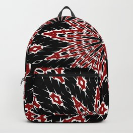 Black Red and White Bold Floral Kaleidoscope Backpack