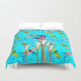 PURPLE CALLA LILIES IN  DRAGONFLY WORLD  ART Duvet Cover