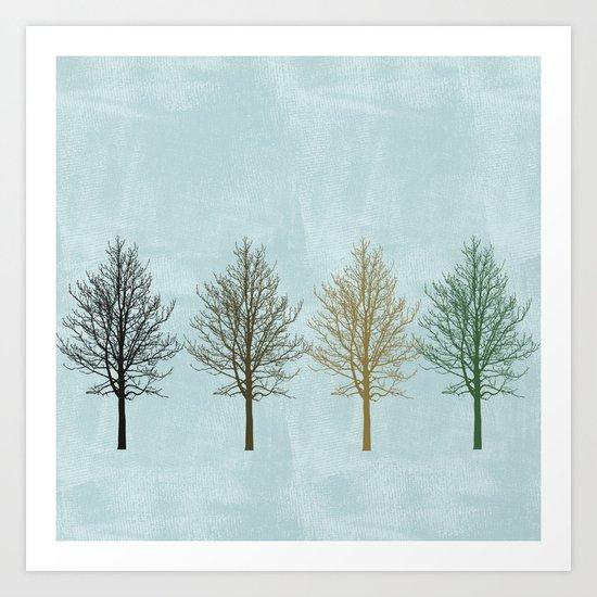 Four Colors Trees Art Print
