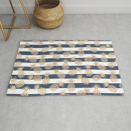 Nautical modern navy blue white stripes blush beige pineapple Rug