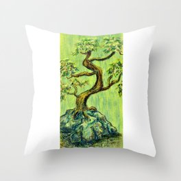 Teal Bonsai Throw Pillow