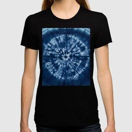 Indigo Bohemian Denim Blue Batik Tie Dye T-shirt