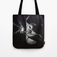 lou reed Tote Bags featuring Lou Reed Is Dead by Tom Christophersen Creates