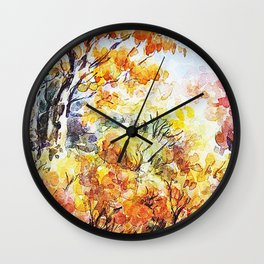 Watercolour Woods/ Indian Summer Forest illustraion • watercolor study • sketch • romantic landscape Wall Clock