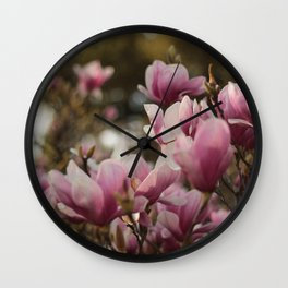 Pretty and sweet pink flowers Wall Clock