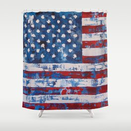 Distressed American Flag vertical hang Shower Curtain