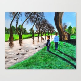 Children told the wild geese  it was time to go Canvas Print