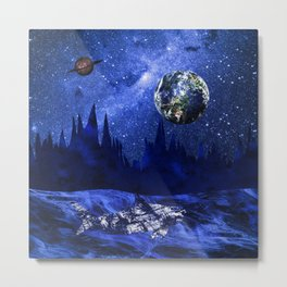 A megalodon on the blue planet Metal Print