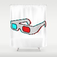 8 bit Shower Curtains featuring 8 BIT GLASSES by DrakenStuff+