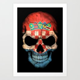 Dark Skull with Flag of Croatia Art Print
