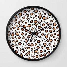 Leopard Print White Background Wall Clock