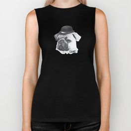 Pug with bowler Biker Tank